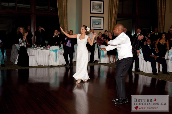 Bride and Groom Having Fun Dancing
