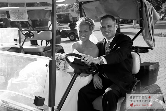 Bride and Groom Going for a Ride in a Golf Cart