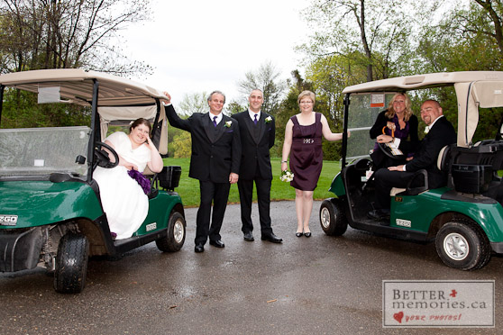 Bridal Party Sitting in the Golf Carts