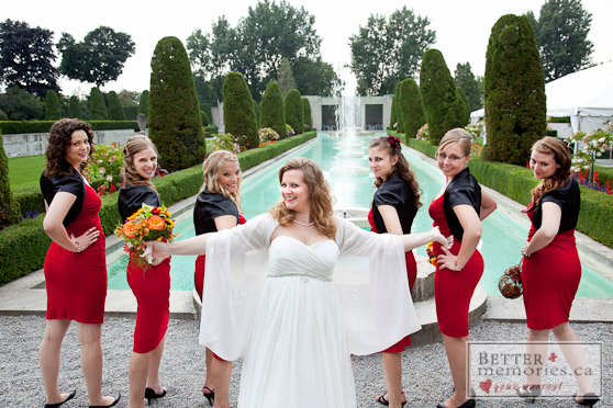 Bride and Bridesmaids Outdoors at the Fountains