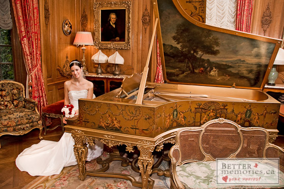 Bride Inside Parkwood Estate sitting at the Grand Piano