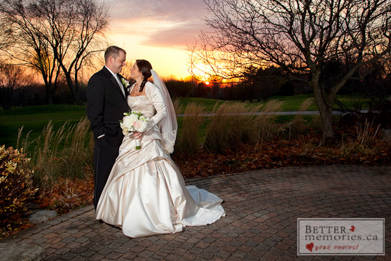 Bride and Groom with a Sunet Backdrop