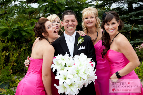 Groom with all of the Bridesmaids