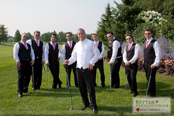 Wedding Gifts For Groomsmen Golf : ... and groomsmen posing casually with golf clubs at Deer Creek Golf Club